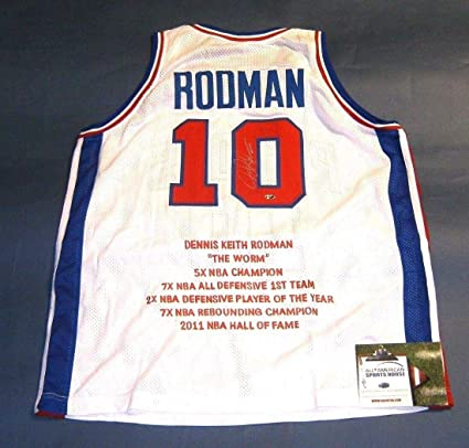 b42d633a9be Image Unavailable. Image not available for. Color  DENNIS RODMAN  AUTOGRAPHED DETROIT PISTONS STAT JERSEY ...