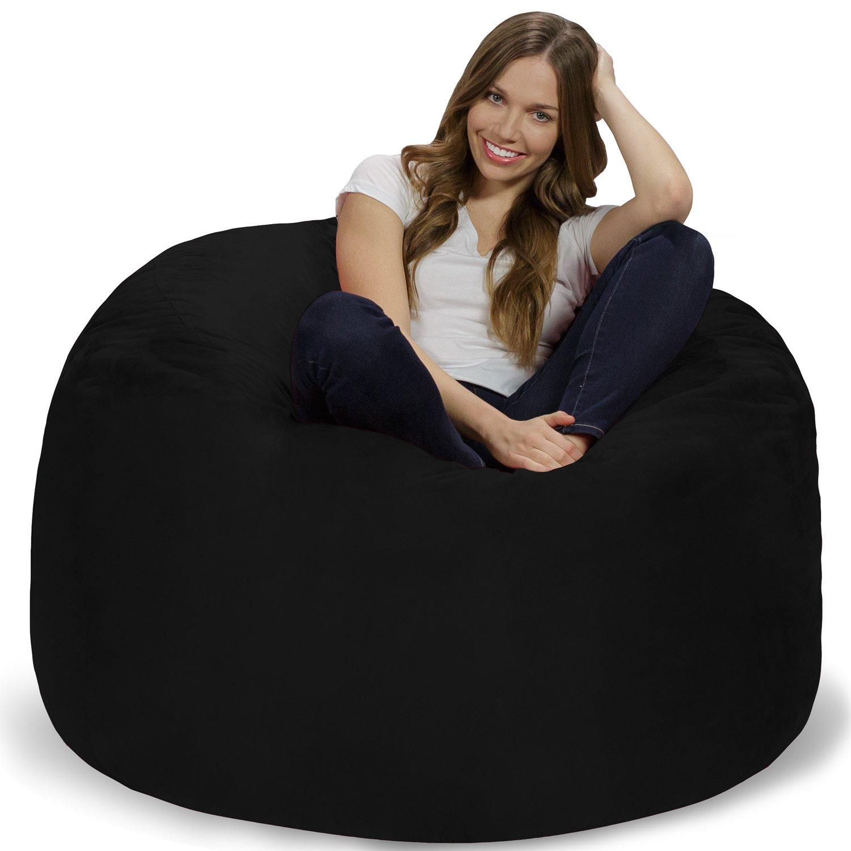 Chill Sack Memory Foam Bean Bag Chair, 4-Feet, Black
