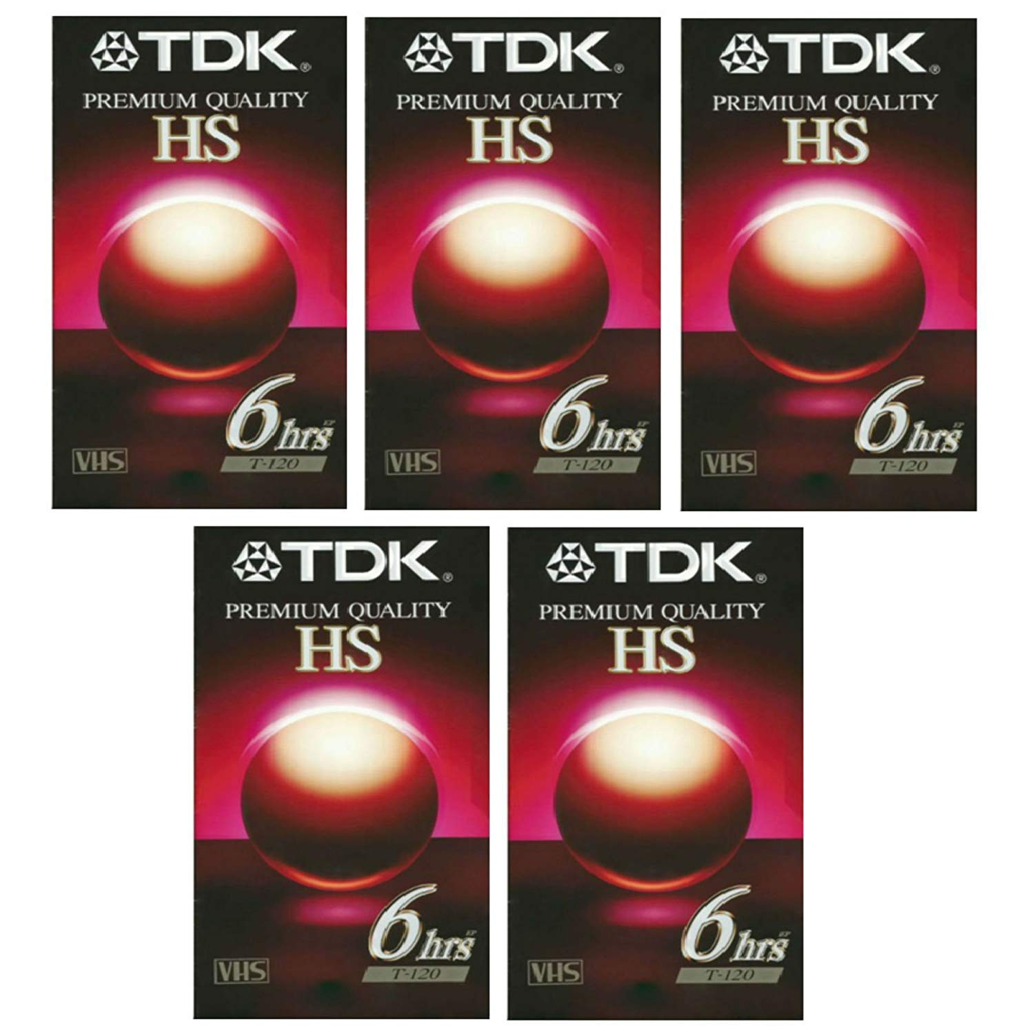 TDK Premium Quality HS 6Hrs T-120 VHS 5pk by TDK Electronics Corp.