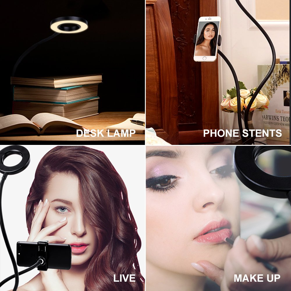 K&F Concept Selfie Ring Light with Cell Phone Holder for Live Stream and Makeup, LED Light [3-Light Mode] [10-Level Brightness] with Remote Control and Flexible Hose Bracket for iPhone Android by K&F Concept (Image #2)