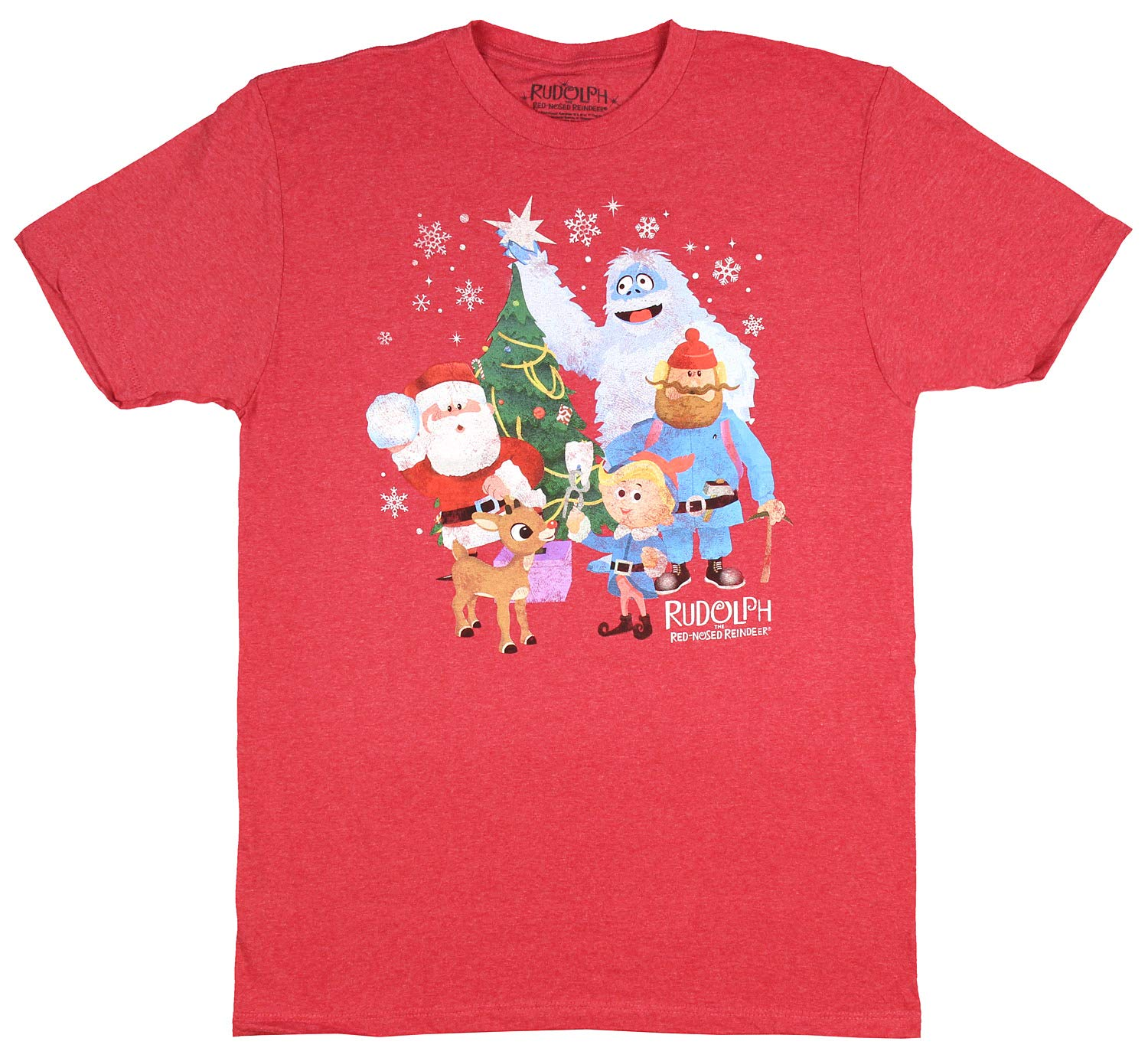 Rudolph The Nosed Reindeer Distressed Vintage Characters Adult T Shirt 7653