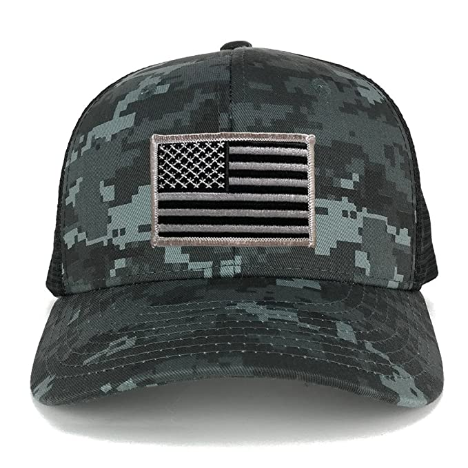 Armycrew US American Flag Embroidered Patch Adjustable Camo Trucker Cap -  NTG-Black - Black 90937545aee