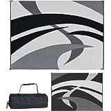 Reversible Mats Outdoor Patio / RV Camping Mat - Swirl (Black/White