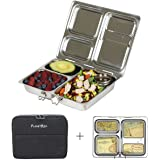 PlanetBox LAUNCH Eco-Friendly Stainless Steel Bento Lunch Box with 3 Compartments for Adults and Kids - Black Sleeve with Air Mail Magnets