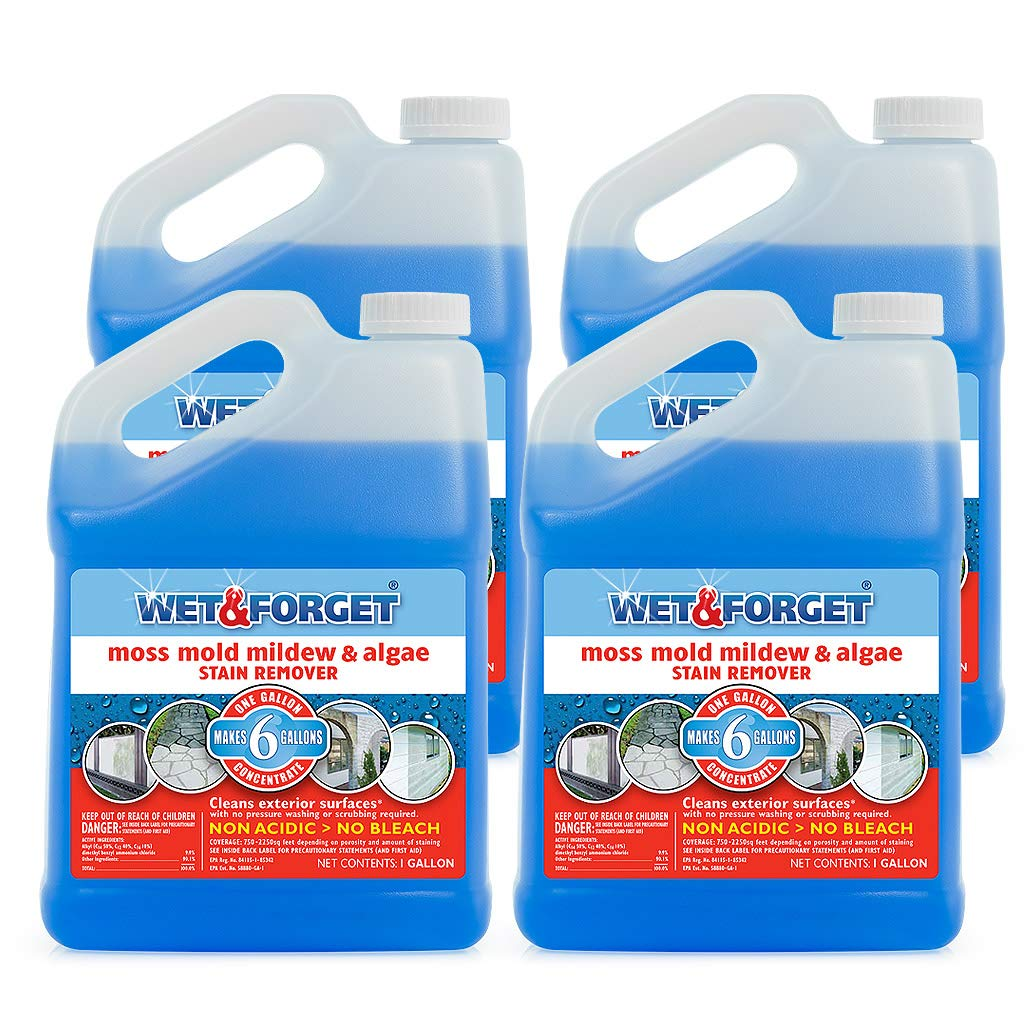 Wet and Forget Moss, Mold, Mildew & Algae Stain Remover, 1 Gallon Concentrate Make 6 Gallons - 4 Pack by WET & FORGET (Image #1)