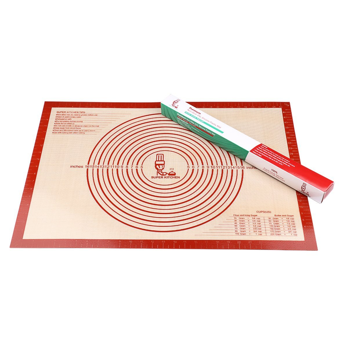 Non-slip Silicone Pastry Mat Extra Large with Measurements