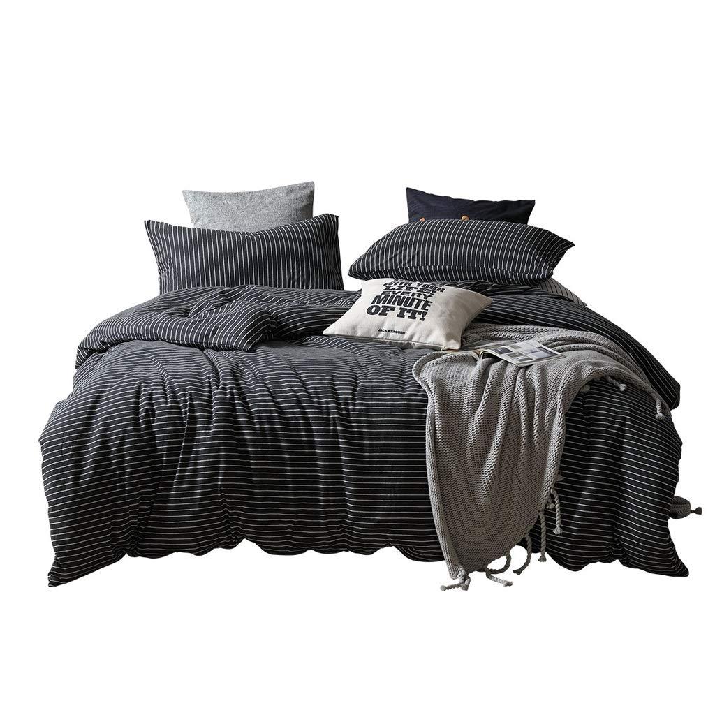 HFY 寝具4ピースコットン生地150センチダブルベッドキルトカバーシーツ2枕カバーダークグレー B07SF564G8