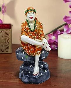 TiedRibbons Hindu Saint Guru Sai Baba Idol Statue Figurine Decorative Showpiece Sculpture and Gifts (7 X 3.5 X 3.5 Inch, Resin)