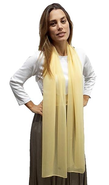 BRANDELIA Estolas Fiesta Mujer Novia Chal de Chifón Elegante para Vestidos de Fiesta, Amarillo