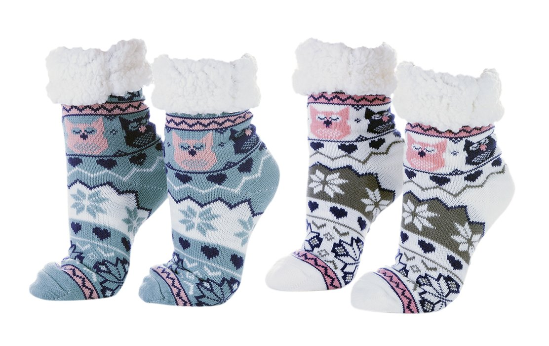 Wearever Women's Warm Fuzzy Non-Skid Faux Fur Sherpa Lined Winter Slipper Socks White & Teal Owl - 2 Pair