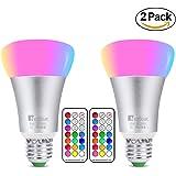 RGBW Color bombillas 10W, NetBoat cambia de color bombilla LED (rosca Edison E27, intensidad regulable de iluminación con mando a distancia, perfecto para el hogar Bar Party Decoración Iluminación ambiente luz (2unidades)
