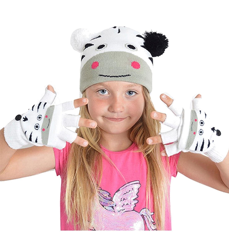 Boys, Girls, Kids Cute Animal Beanie Woolly Hat and Mitten Gloves Gift Set GL900 RJM