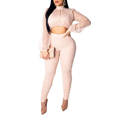 50db7f5f Amazon.com: 2 Piece Outfits for Women-Mesh Long Sleeve Crop Top and Long  Pants Set Bodycon Jumpsuits Clubwear: Clothing