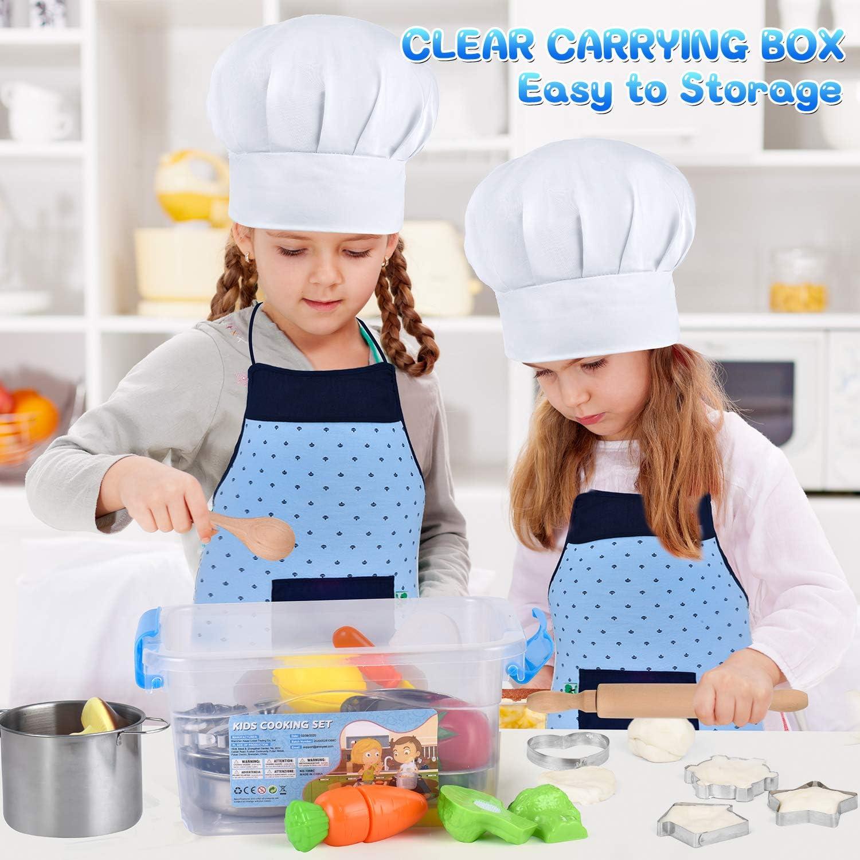AMOYEE Giocattoli da Cucina per Bambini Grembiule e Cappello per Bambini dai 3 Anni in su 30 Pezzi Cucina Pentole Giocattolo per Bambini Taglio Cibo Verdura Acciaio Inossidabile Accessori Cucina