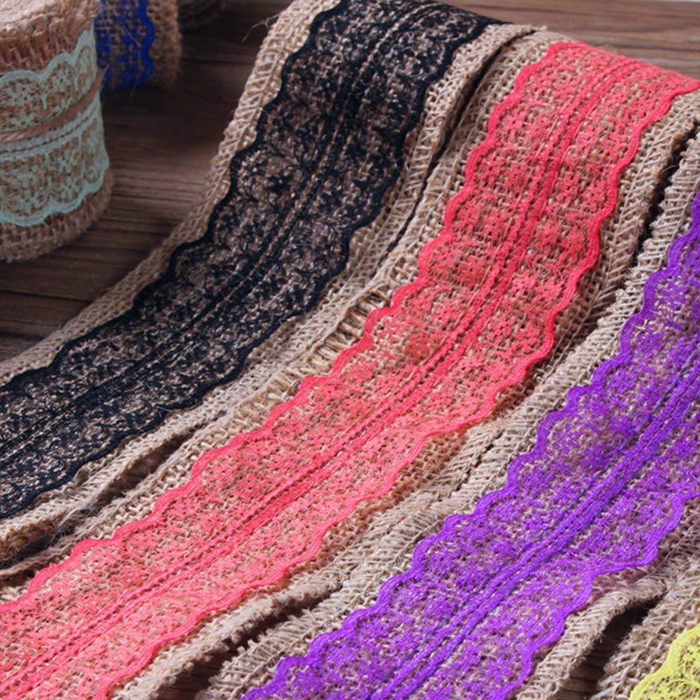 - Azul Cielo free size Encaje Mic Natural Cinta Yute C/á/ñamo Bricolaje Manualidades Costura para la Boda Regalo de Navidad Decoraci/ón Dorado