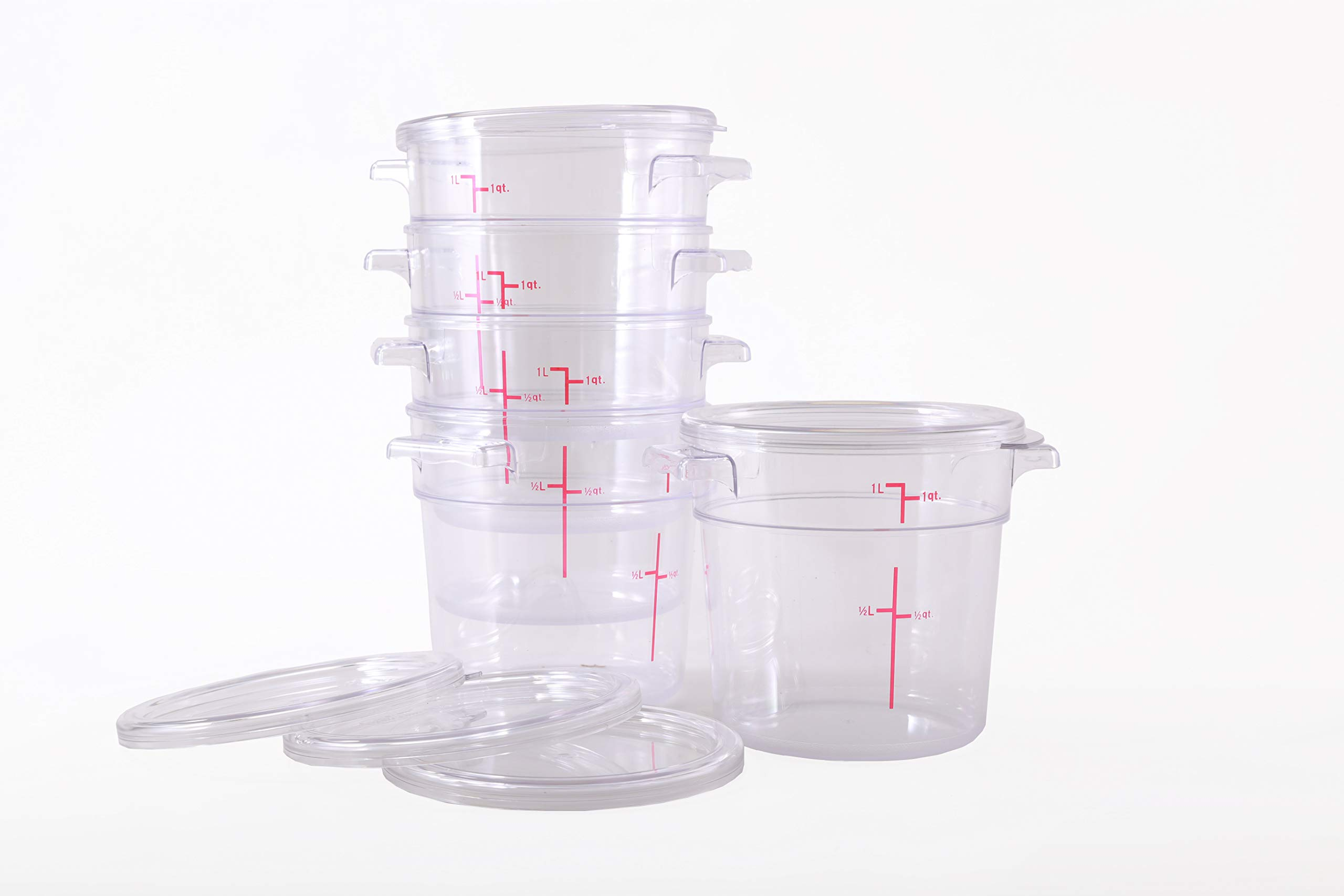 Hakka 1 Qt Commercial Grade Round Food Storage Containers with Lids,Polycarbonate,Clear - Case of 5