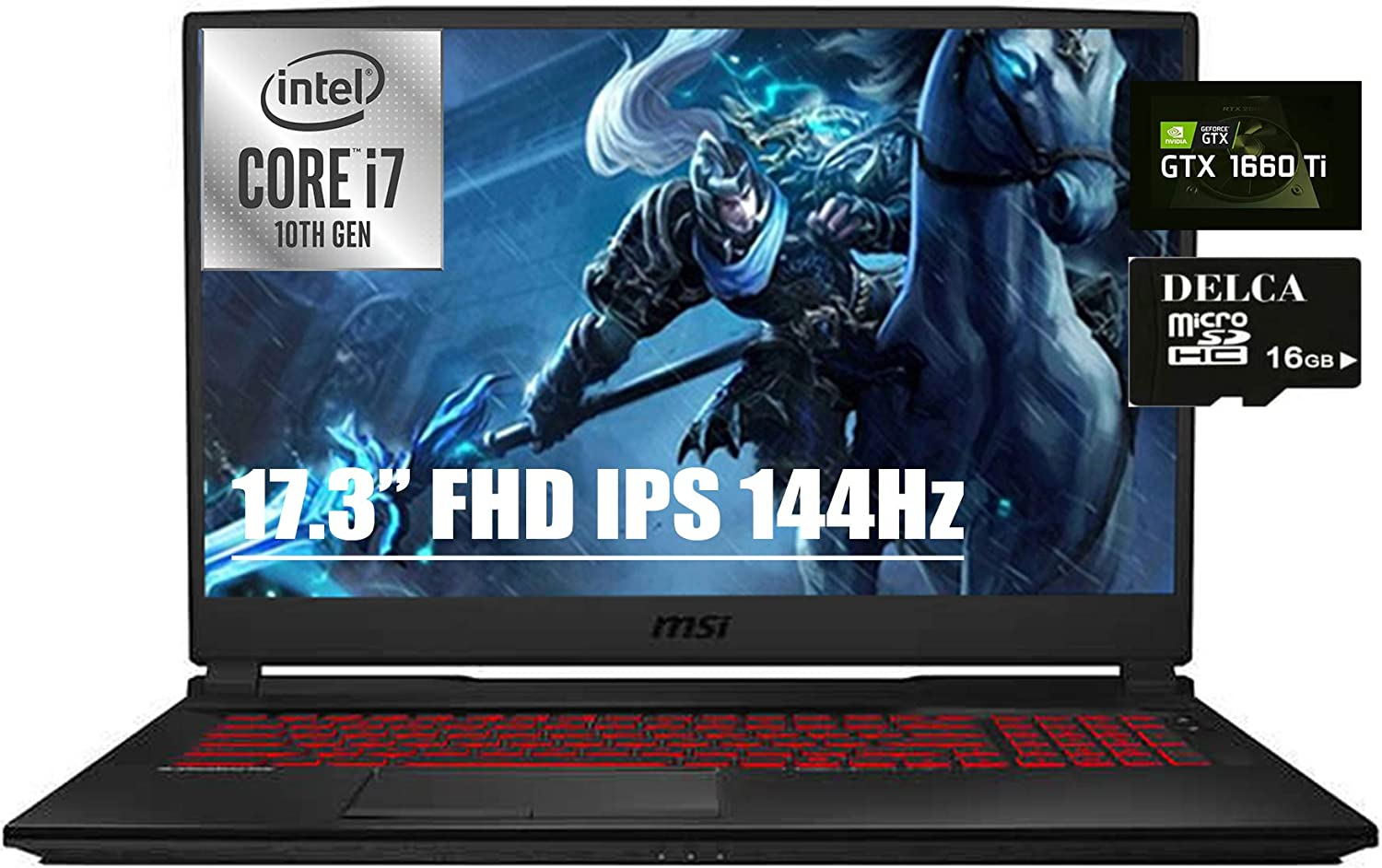 "2020 MSI GL75 Leopard Gaming Laptop I 17.3"" FHD IPS 144Hz 3ms 100% sRGB I Intel Hexa-Core i7-10750H I 32GB DDR4 512GB SSD 1TB HDD I 6GB GTX 1660Ti Backlit Webcam Win 10 + Delca 16GB Micro SD Card"