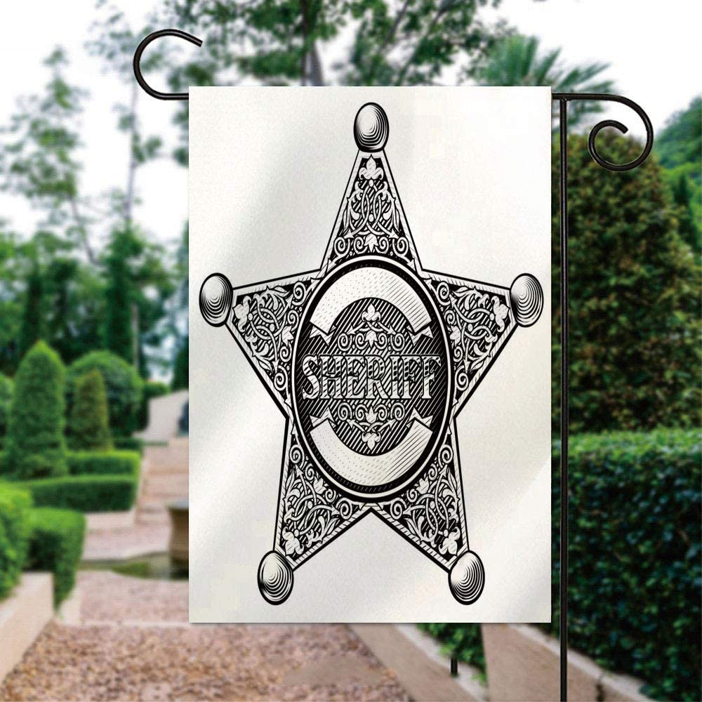 ALUONI Seasonal Garden Flags 12x18 inch Yard Flags - Cowboy Sheriff Star Badge Illustration Double Sided Design for All Seasons and Holidays IS004817