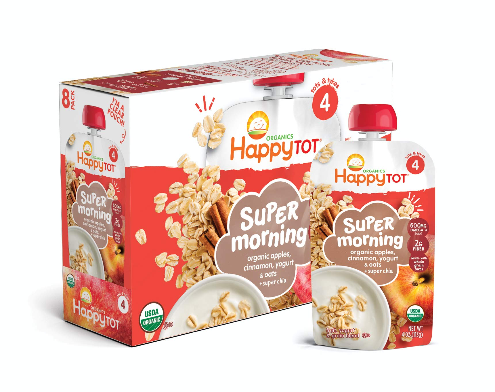 Happy Tot Organic Stage 4 Super Morning Organic Apple Cinnamon Yogurt Oats + Super Chia, 4 Ounce Pouch (Pack of 8) (Packaging May Vary)