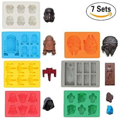 Sunerly Moldes de silicona para bandeja de hielo en forma de personaje de Star Wars,