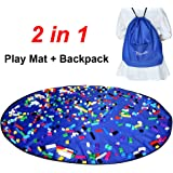 Toy Storage Bag - Drawstring Backpack for Lego, unfolds as kids Play Mat or Activity Mat