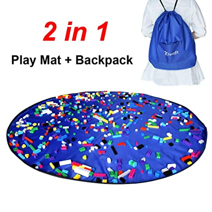 Favofit Toy Storage Bag - Drawstring Backpack for Lego unfolds as kids Play Mat or  sc 1 st  Amazon.com & Amazon.com: Favofit Toy Storage Bag - Drawstring Backpack for Lego ...