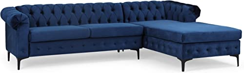 Christopher Knight Home Frieda Velvet 3 Seater Sectional Sofa