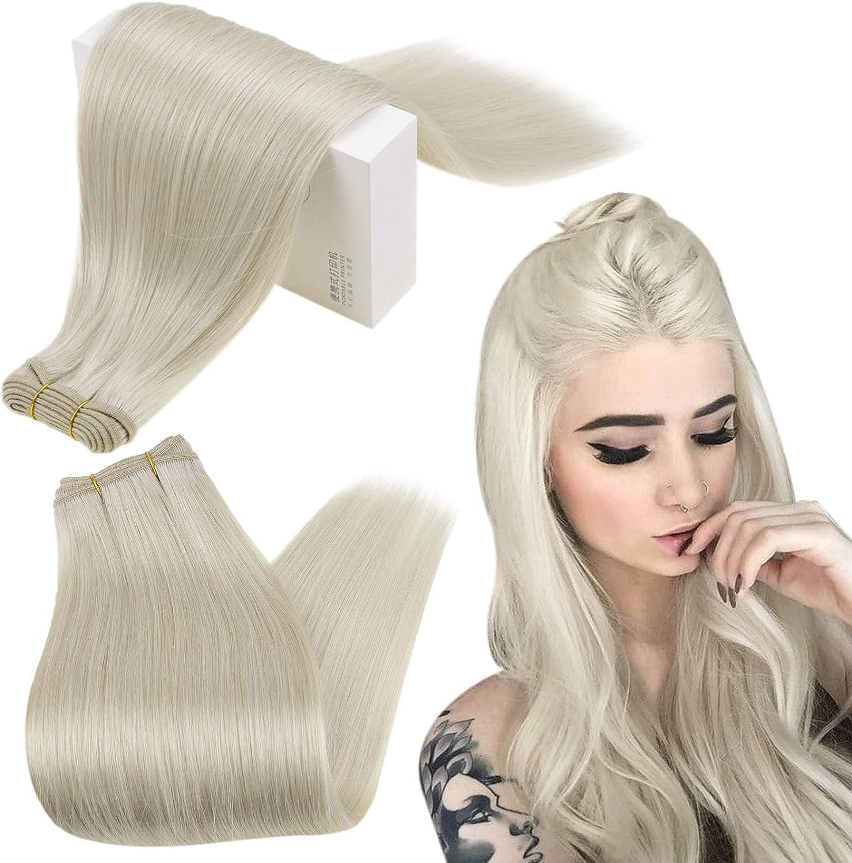 Runature Trama Del Pelo Color 800 White Blonde 30Cm Remy Cabello Humano 100G Silky Straight Double Weft Armadura Del Pelo Extensións For Women