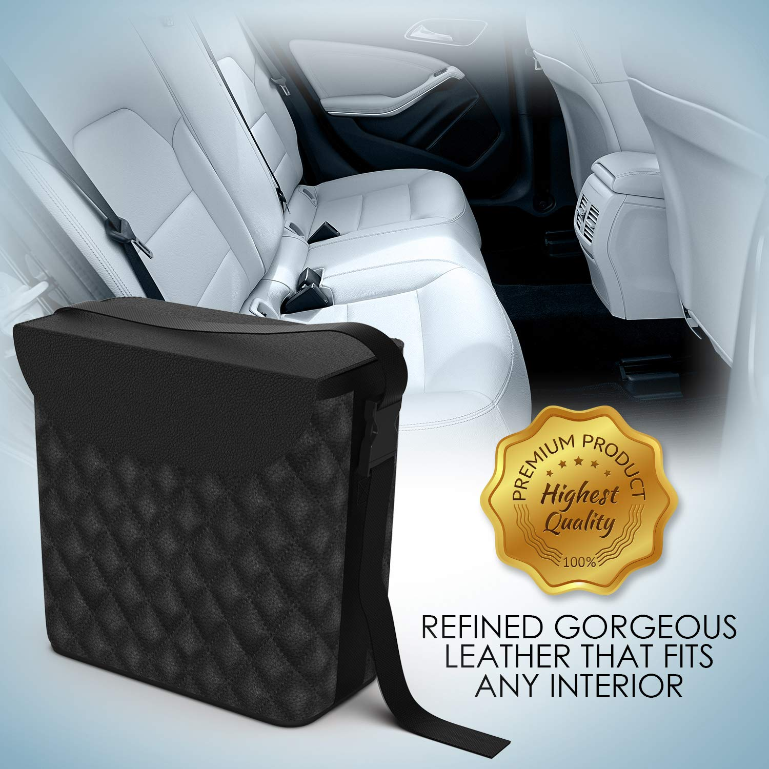 Car Garbage Can with Matching Tissue Box Luxxe Car Trashcan Refined Leather Car Trash Can Car Trash Bag Machine Washable Car Trash Container Water Proof Car Garbage Bag /& Car Trash Bin/…