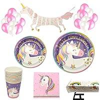 Decoraciones Unicornio y vajilla Rosa y Morado Unicorn Feliz Cumpleaños para niñas El Juego de 105 Piezas Incluye Platos…