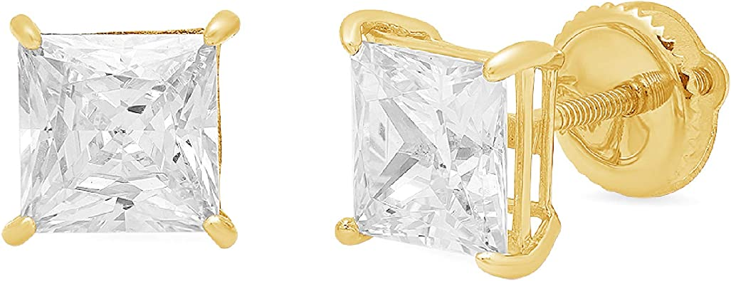 Clara Pucci 2.90 CT Princess Brilliant Cut Solitaire Stud Earrings in 14k Yellow Gold Push Back