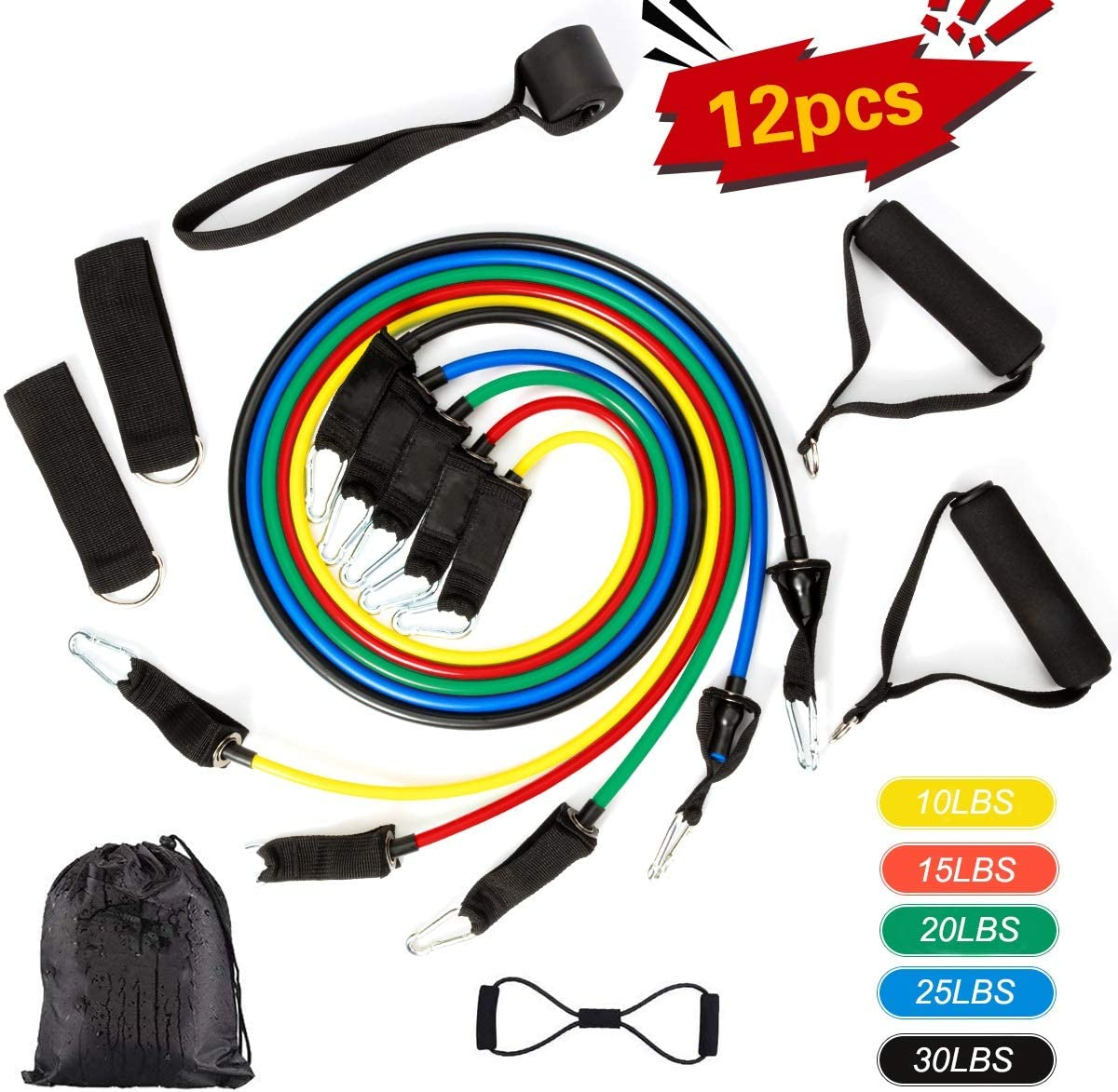 Resistance Band Set, 12 PCS Exercise Resistance Bands with Door Anchor WAS £26.99 NOW £16.19 w/code 3IH2PP5Q @ Amazon