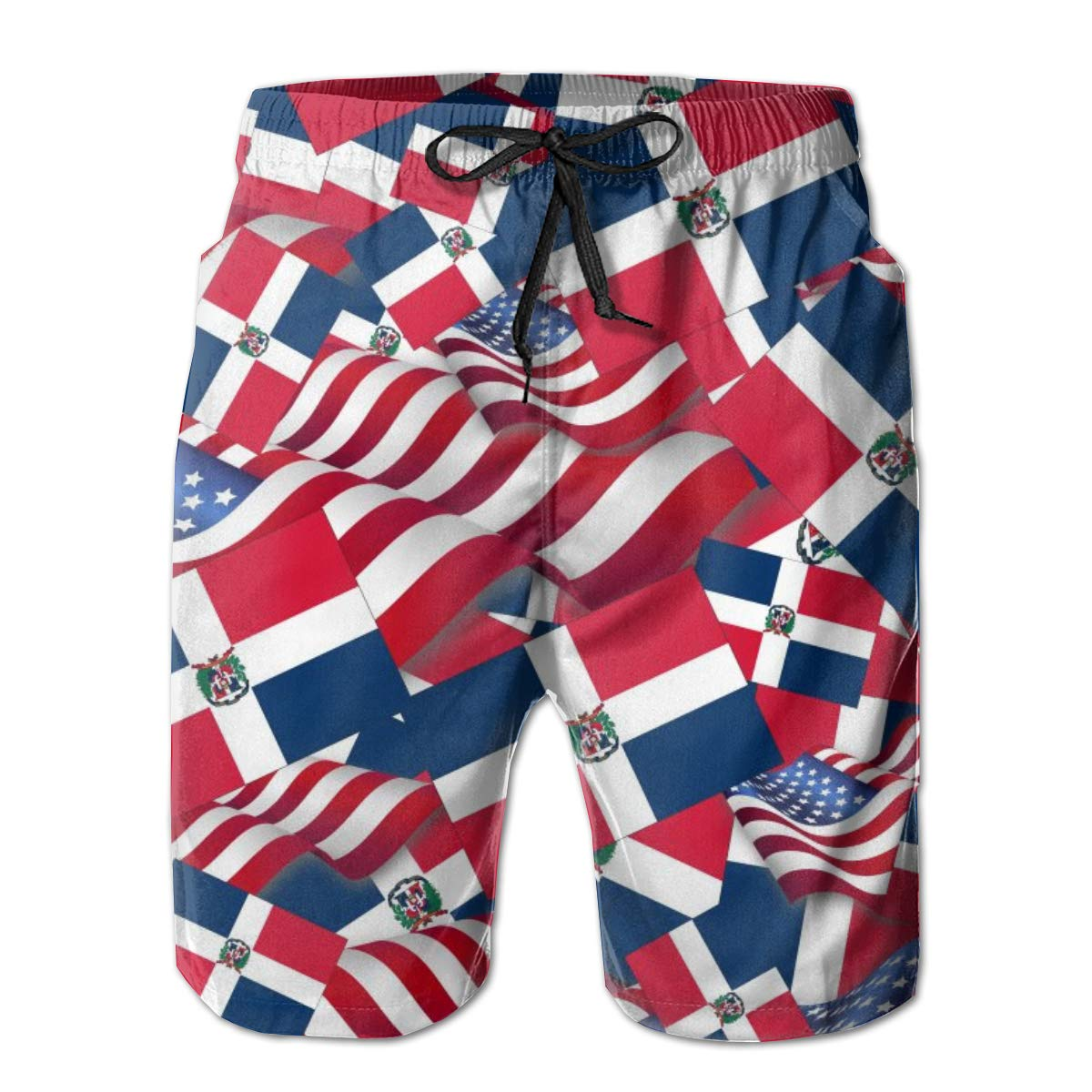 FUNSTYEET Mens Board Shorts Dominican Republic Flag with America Flag Holiday Swim Trunks Mesh Lining
