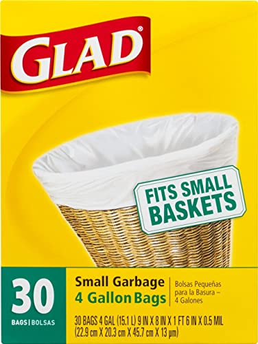 Glad Small Trash Bags - 4 Gallon White Trash Bag - 30 Count