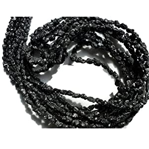 8 Inch Half Strand, Black Raw Rough Diamond Tumbles Beads, Conflict Free Uncut Diamond, 3-4mm Beads
