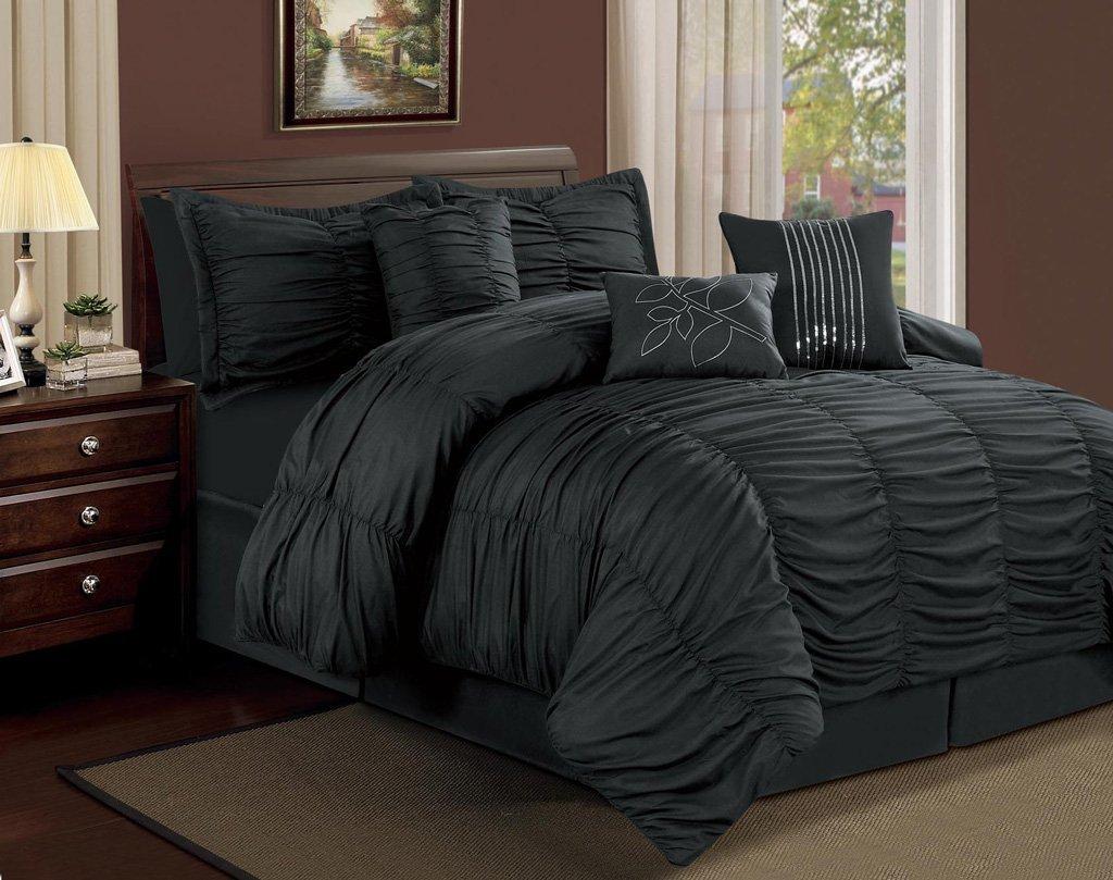 Amazon.com: 7 Piece Full Hermosa Ruffled Comforter Set Black: Home ...