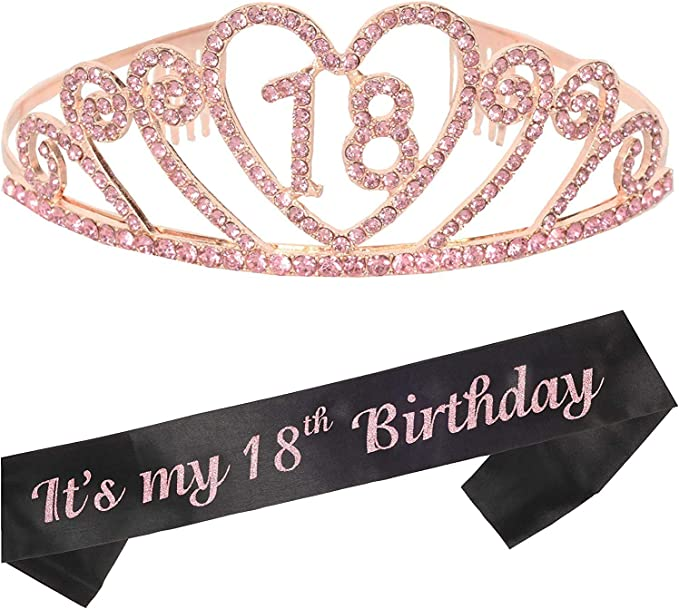 Bohoman Rose Gold Happy 18th Birthday Sash and 18 Birthday Tiara Rhinestone for