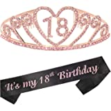 18th Birthday Gifts for Girl, 18th Birthday Tiara and Sash, 18th Birthday Party Supplies Happy 18th Birthday Party…