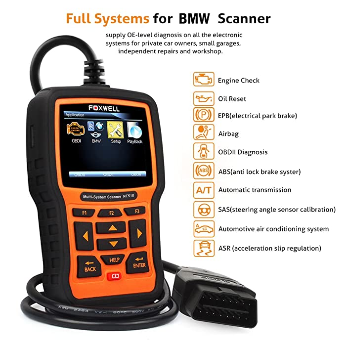 FOXWELL NT510 is an OBD1&2 Scanner that can read and clear diagnostic codes in all major systems including engine, ABS, transmission, SRS, SAS, DISA, etc.