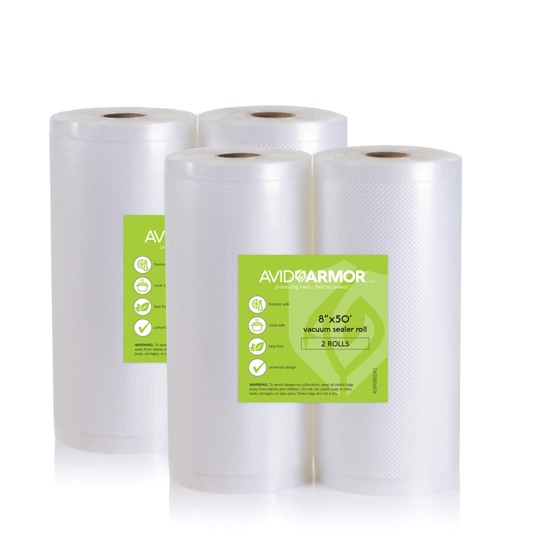 4 Large Vacuum Sealer Bag Rolls 8 Inch x 50 Feet for Food Saver, Seal a Meal Vac Sealers Heavy Duty Commercial BPA Free Sous Vide Safe Make Bags Cut to Length Roll 200 Total Feet Avid Armor by Avid Armor