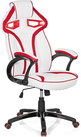 hjh OFFICE 722240 Silla Gaming Guardian Piel sintética Blanco/Rojo ...