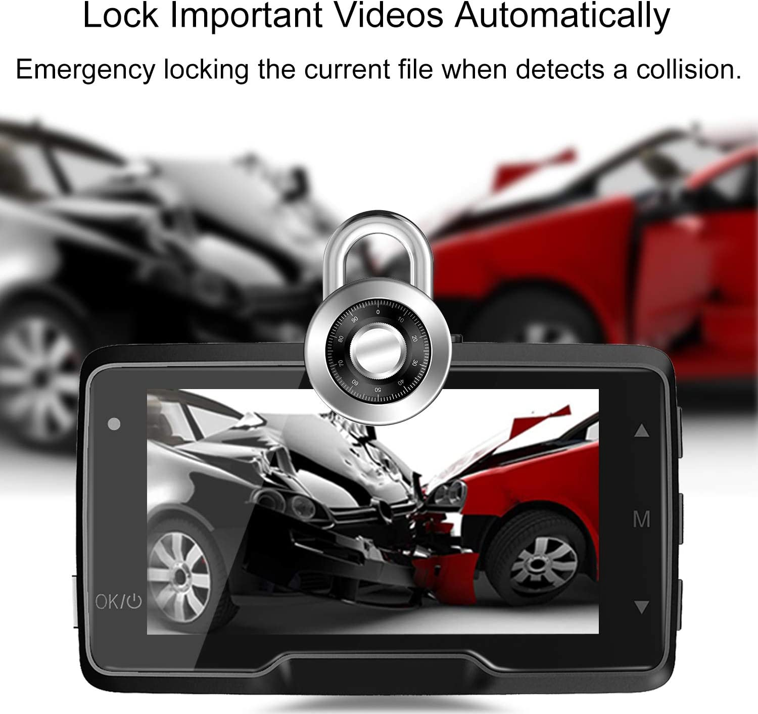 GOODTS Dash Cam 1080P FHD Car Camera Recorder 2.45 Inch LCD Screen 170/°Wide Angle Dash Camera for Cars with G-Sensor Loop Recording WDR Motion Detection Night Vision.
