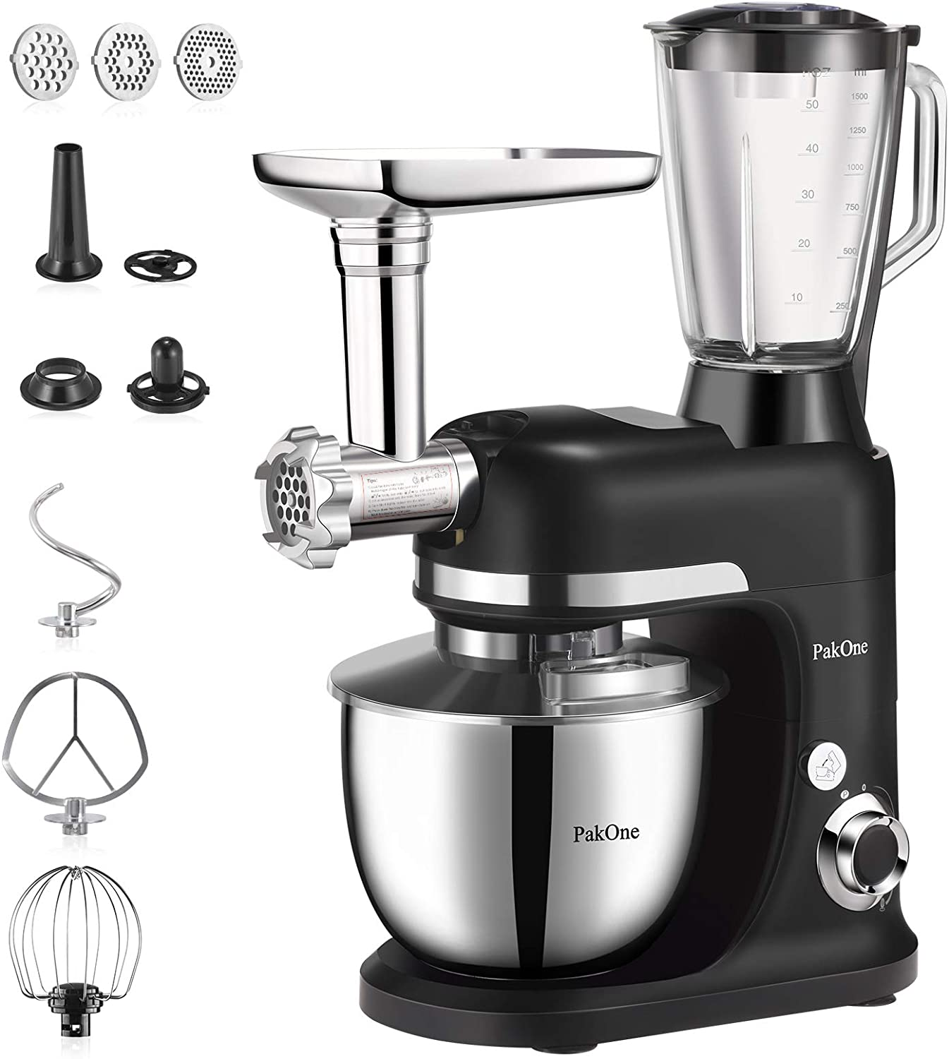 BONISO Stand Mixer,6.5-QT 800W 6-Speed Tilt-Head Food Mixer, Multifunctional Kitchen Electric Mixer with Dough Hook, Wire Whip, Beater,Meat Grinder and Blender