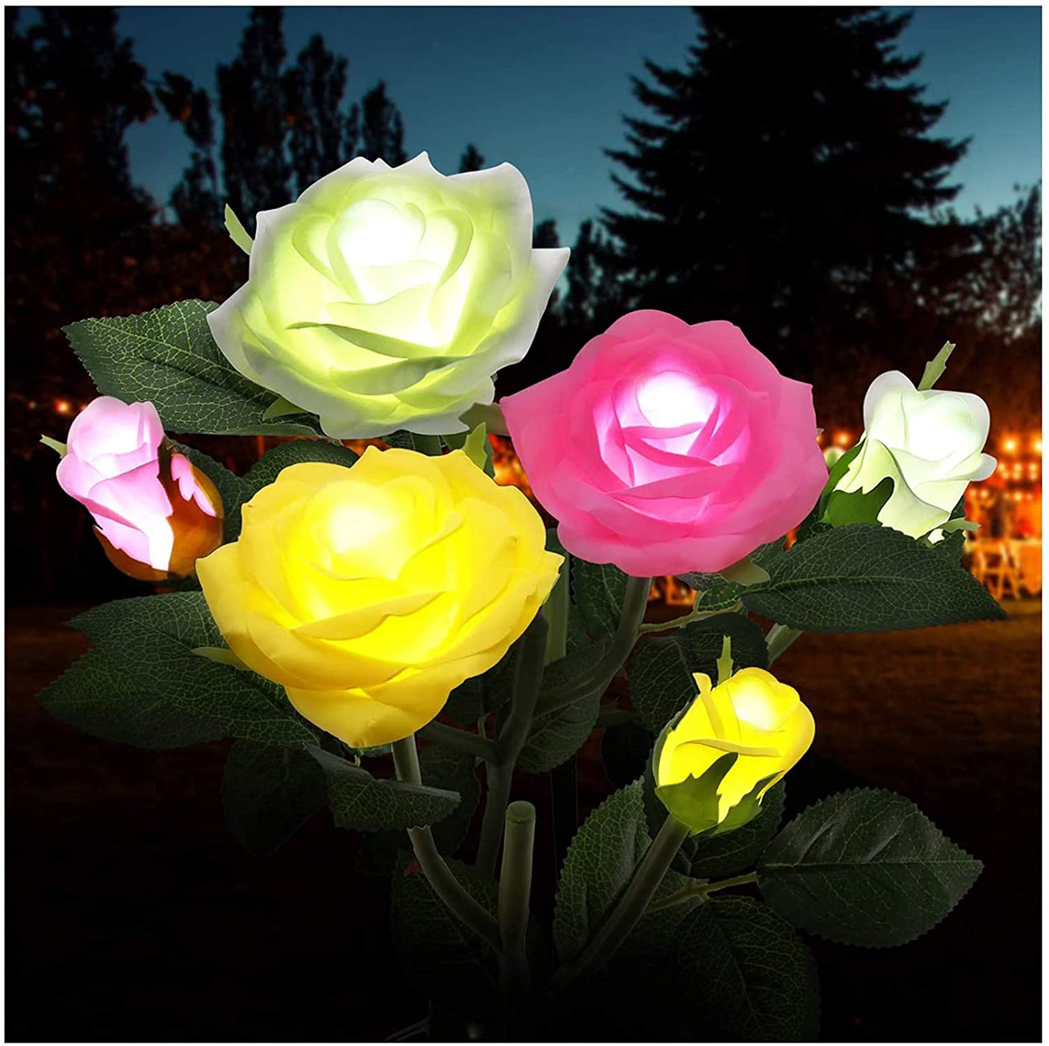 Outdoor Solar Garden Stake Lights,Upgraded LED Solar Powered Light with 6 Rose Flowers, 3 Pack Colorful Waterproof Solar Decorative Lights for Garden, Patio, Backyard (White&Pink&Yellow)