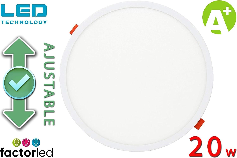 con di/ámetro ajustable de 50mm a 210mm Downlight LED Redondo FactorLED Placa LED Circular 20W Luz C/álida panel empotrable 3000K Iluminaci/ón de interior lampara de techo drivers incluidos