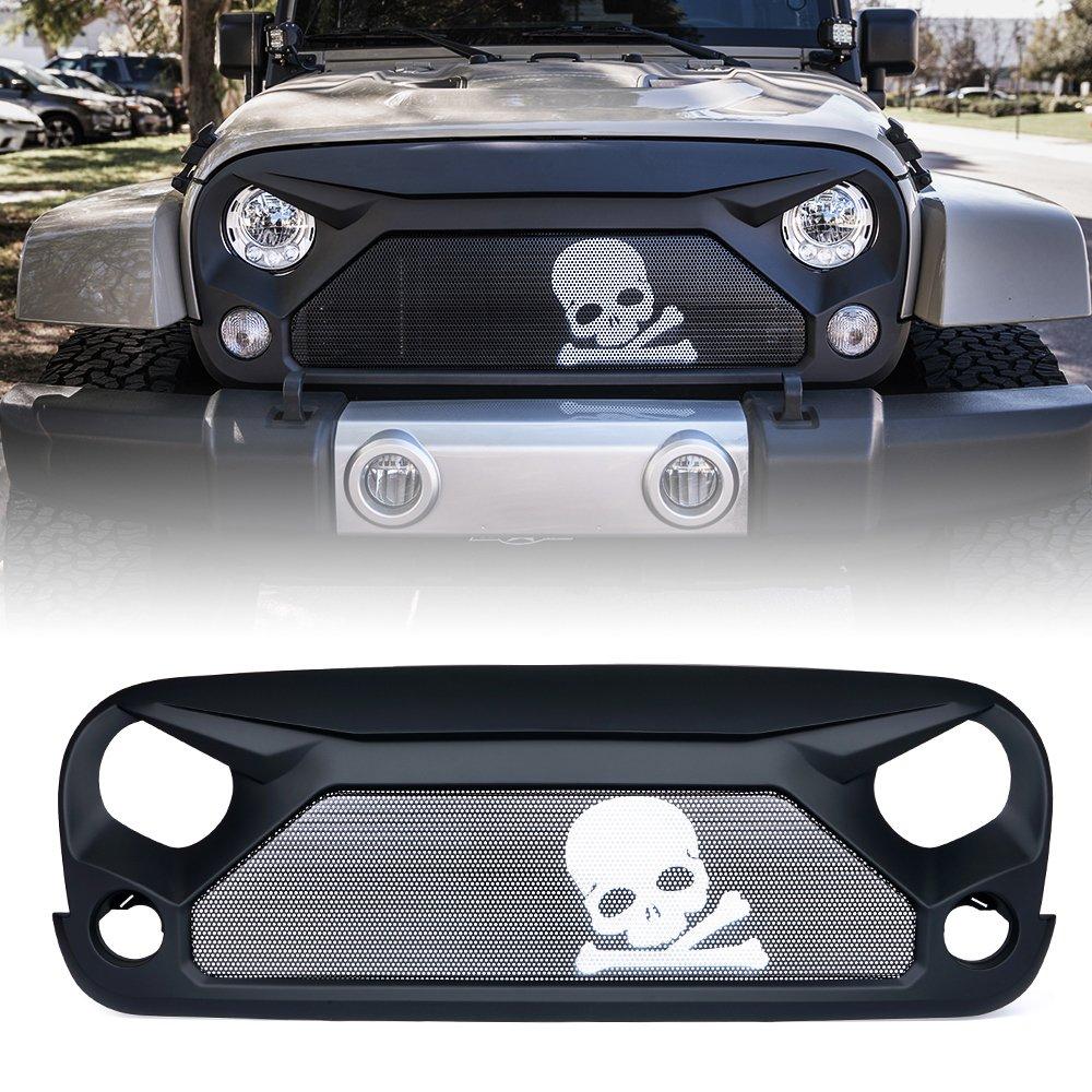 Xprite Jeep Wrangler JK JKU Grill, Gladiator Vader Grille for 2007-2018 Jeep Rubicon Sahara Sport (Skull Steel Steel Mesh)