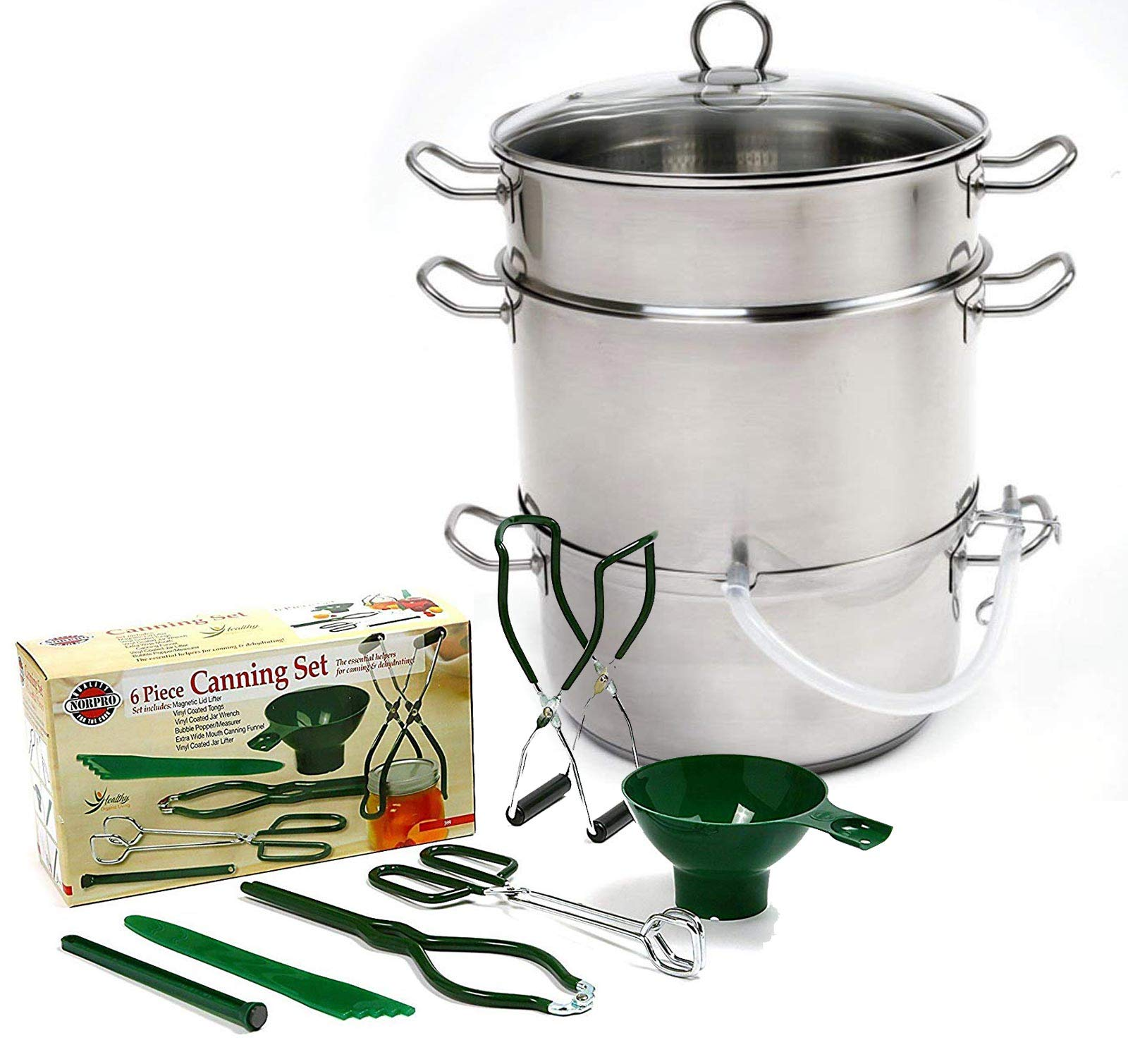 Norpro Stainless Steamer/Juicer Bundle with Norpro 6pc Canning Essentials - Stainless Steel