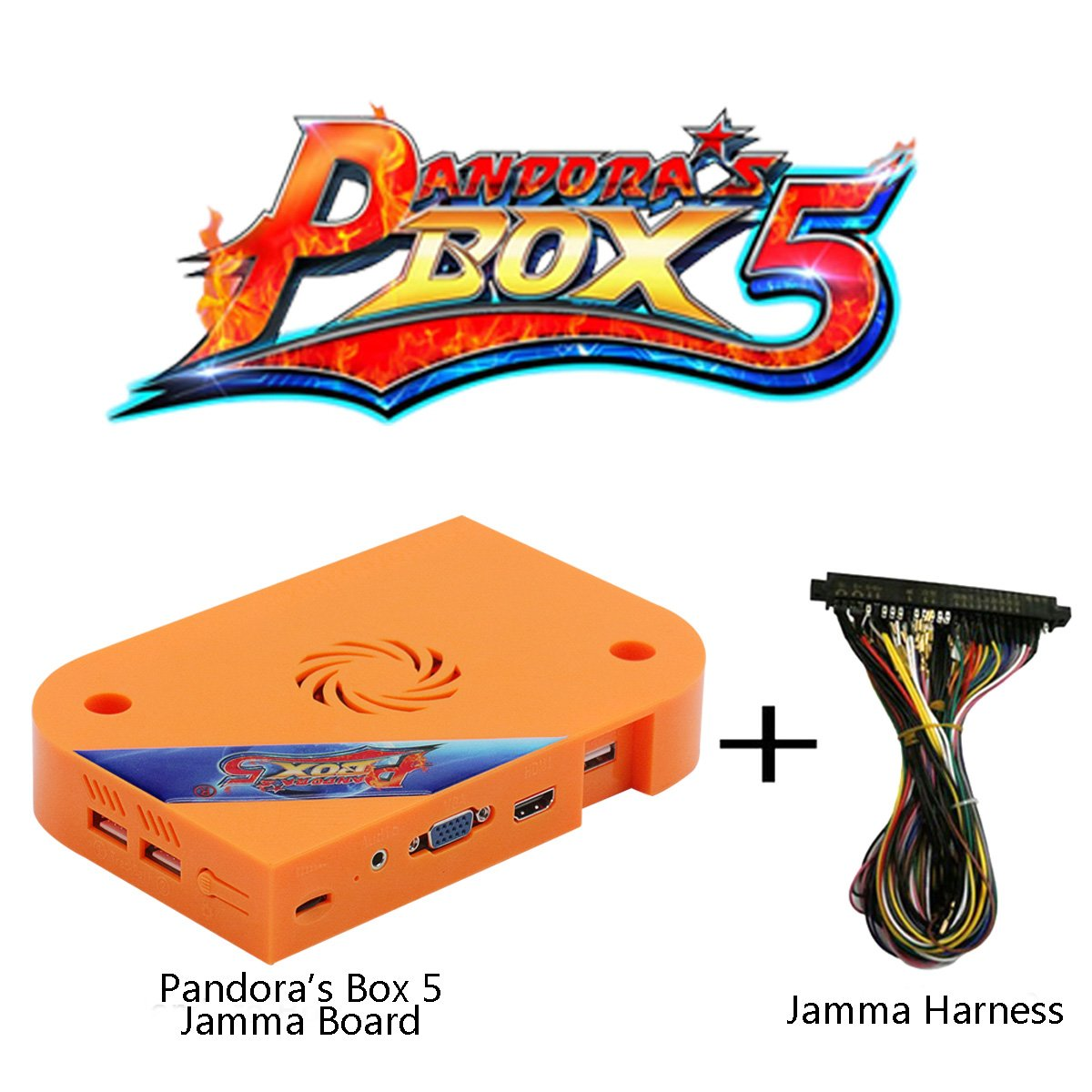Wisamic Pandora's Box 5 Jamma Board PCB with Jamma Harness, 1280x720 Full HD, Upgraded CPU etc VGA HDMI Output for Arcade Cabinet, No Games Included- Orange