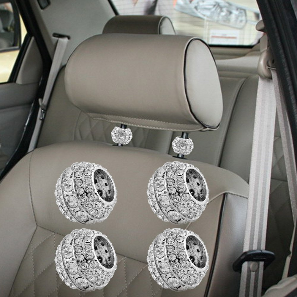 Astra Depot 4x Universal Chrome Ice Diamond Bling Headrest Head Rest Collars Interior Decoration For Auto Car Truck SUV Vehicle
