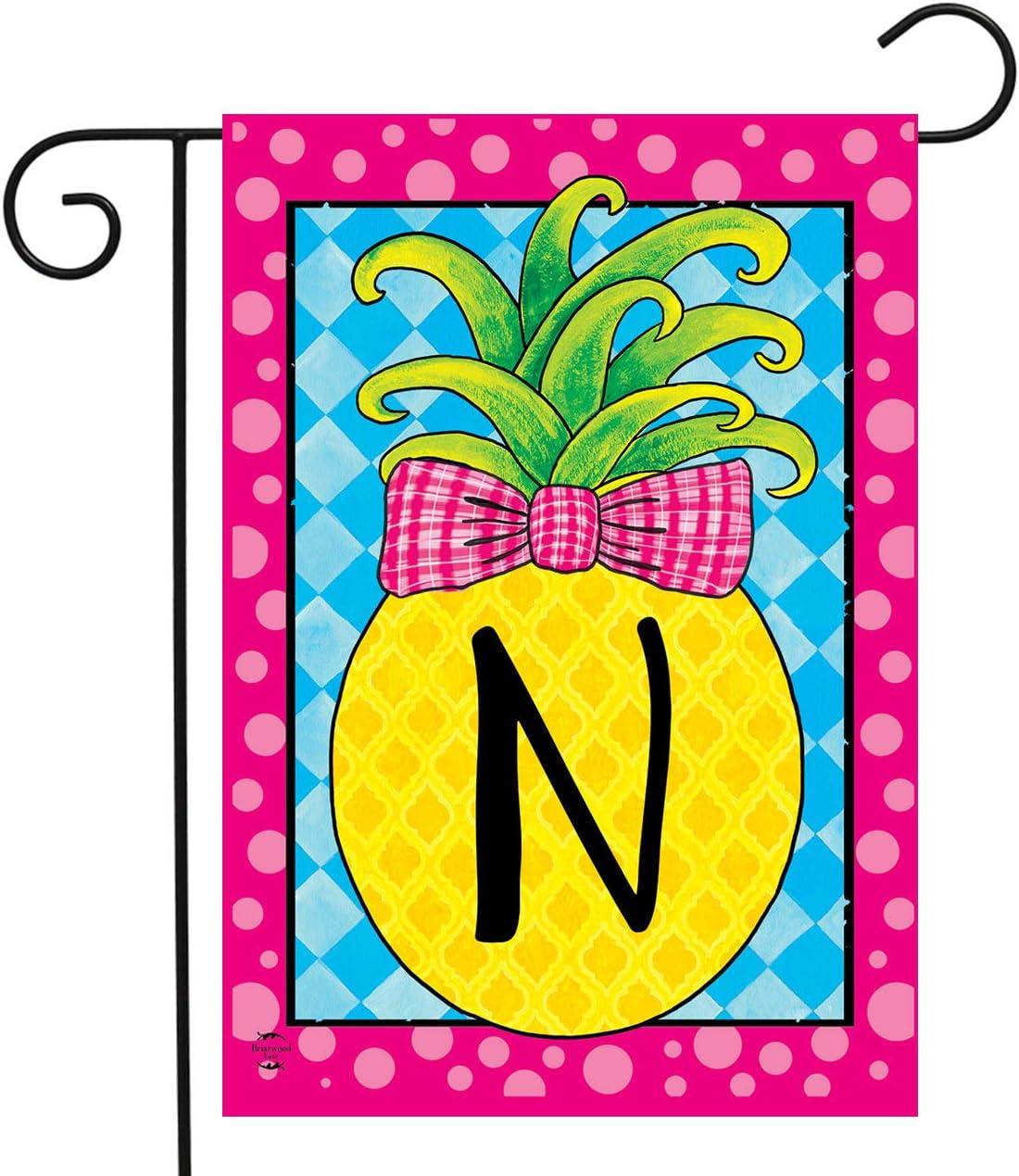 Briarwood Lane Pineapple Monogram Letter N Garden Flag 12.5